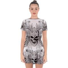 Skull Vector Drop Hem Mini Chiffon Dress by Alisyart