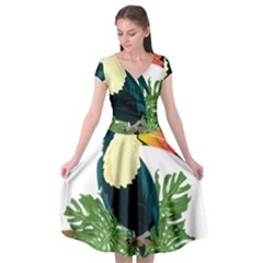 Tropical Birds Cap Sleeve Wrap Front Dress