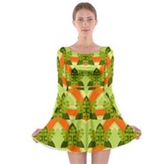 Texture Plant Herbs Herb Green Long Sleeve Skater Dress