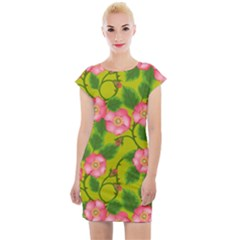 Roses Flowers Pattern Bud Pink Cap Sleeve Bodycon Dress