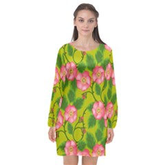 Roses Flowers Pattern Bud Pink Long Sleeve Chiffon Shift Dress