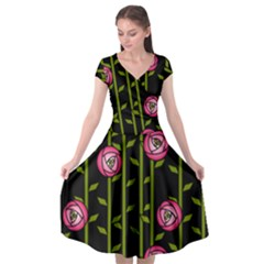 Rose Abstract Rose Garden Cap Sleeve Wrap Front Dress