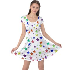 Star Random Background Scattered Cap Sleeve Dress