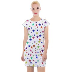 Star Random Background Scattered Cap Sleeve Bodycon Dress