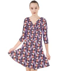 Pattern Abstract Fabric Wallpaper Quarter Sleeve Front Wrap Dress