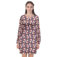 Pattern Abstract Fabric Wallpaper Long Sleeve Chiffon Shift Dress