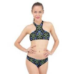 Pattern Thistle Structure Texture High Neck Bikini Set by Pakrebo