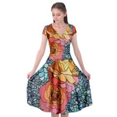 Pattern Rose Yellow Background Cap Sleeve Wrap Front Dress by Pakrebo