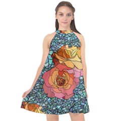 Pattern Rose Yellow Background Halter Neckline Chiffon Dress