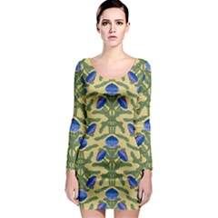 Pattern Thistle Structure Texture Long Sleeve Bodycon Dress by Pakrebo