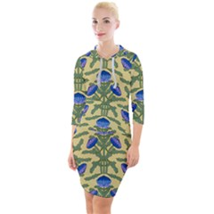 Pattern Thistle Structure Texture Quarter Sleeve Hood Bodycon Dress by Pakrebo