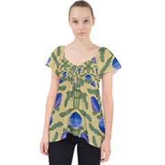 Pattern Thistle Structure Texture Lace Front Dolly Top by Pakrebo