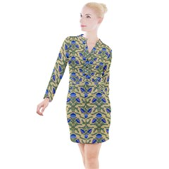 Pattern Thistle Structure Texture Button Long Sleeve Dress by Pakrebo