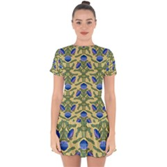 Pattern Thistle Structure Texture Drop Hem Mini Chiffon Dress by Pakrebo