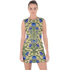 Pattern Thistle Structure Texture Lace Up Front Bodycon Dress by Pakrebo
