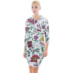 Flowers Garden Tropical Plant Quarter Sleeve Hood Bodycon Dress by Pakrebo