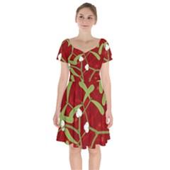 Mistletoe Christmas Texture Advent Short Sleeve Bardot Dress by Pakrebo