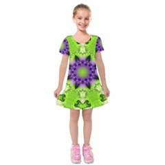 Pattern Abstract Background Art Green Kids  Short Sleeve Velvet Dress