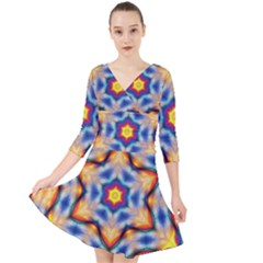 Pattern Abstract Background Art Quarter Sleeve Front Wrap Dress