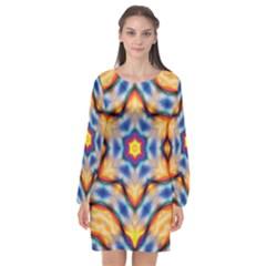 Pattern Abstract Background Art Long Sleeve Chiffon Shift Dress