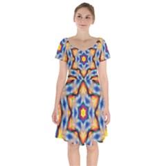 Pattern Abstract Background Art Short Sleeve Bardot Dress
