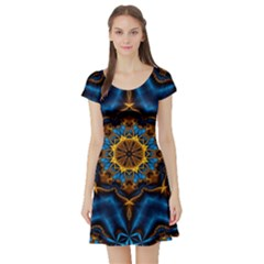Pattern Abstract Background Art Short Sleeve Skater Dress