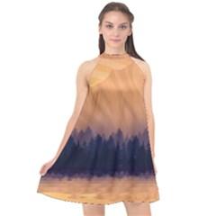 Landscape Nature Mountains Sky Halter Neckline Chiffon Dress
