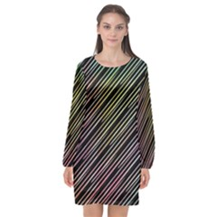Pattern Abstract Desktop Fabric Long Sleeve Chiffon Shift Dress