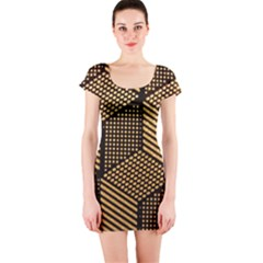Cubes Light Geometry Shines Short Sleeve Bodycon Dress by Pakrebo