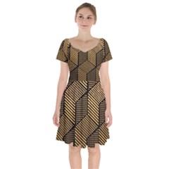 Cubes Light Geometry Shines Short Sleeve Bardot Dress