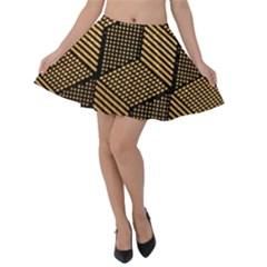 Cubes Light Geometry Shines Velvet Skater Skirt