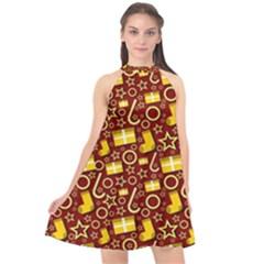 Paper Tissue Wrapping Halter Neckline Chiffon Dress