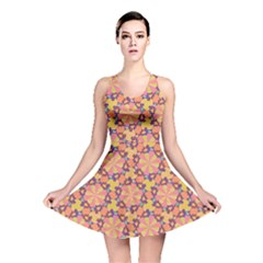 Pattern Decoration Abstract Flower Reversible Skater Dress