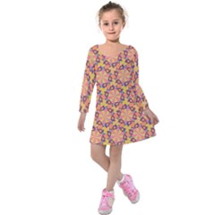 Pattern Decoration Abstract Flower Kids  Long Sleeve Velvet Dress by Pakrebo