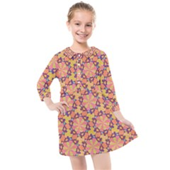 Pattern Decoration Abstract Flower Kids  Quarter Sleeve Shirt Dress by Pakrebo