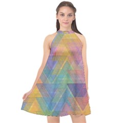 Triangle Pattern Mosaic Shape Halter Neckline Chiffon Dress