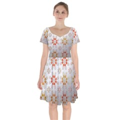 Wallpaper Pattern Abstract Short Sleeve Bardot Dress