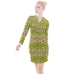 Texture Heather Nature Button Long Sleeve Dress by Pakrebo