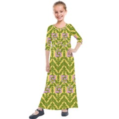 Texture Heather Nature Kids  Quarter Sleeve Maxi Dress by Pakrebo