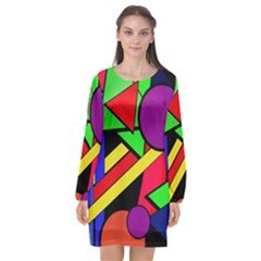 Background Color Art Pattern Form Long Sleeve Chiffon Shift Dress