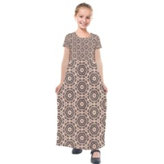 Default Texture Tissue Seamless Kids  Short Sleeve Maxi Dress by Pakrebo