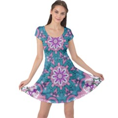 Mandala Pattern Abstract Cap Sleeve Dress