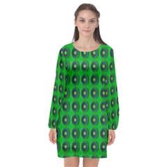 Texture Stucco Graphics Flower Long Sleeve Chiffon Shift Dress