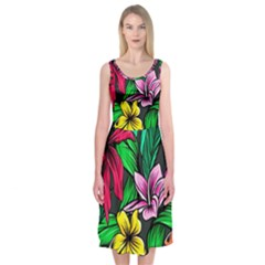 Hibiscus Flower Plant Tropical Midi Sleeveless Dress
