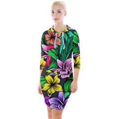 Hibiscus Flower Plant Tropical Quarter Sleeve Hood Bodycon Dress by Pakrebo