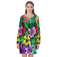 Hibiscus Flower Plant Tropical Long Sleeve Chiffon Shift Dress