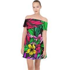 Hibiscus Flower Plant Tropical Off Shoulder Chiffon Dress by Pakrebo