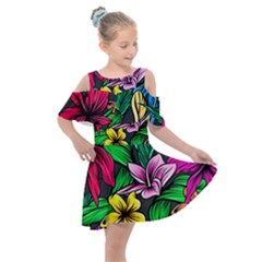 Hibiscus Flower Plant Tropical Kids  Shoulder Cutout Chiffon Dress by Pakrebo