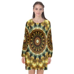 Pattern Abstract Background Art Long Sleeve Chiffon Shift Dress