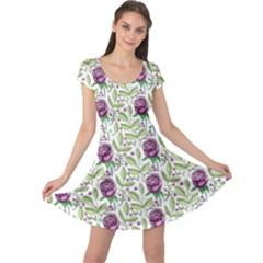 Default Texture Background Floral Cap Sleeve Dress